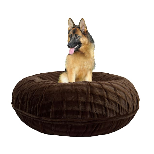 "Bessie & Barnie Extra Plush Faux Fur Bagel Pet Godiva Brown Dog Bed, 42"" x 42"" - Carousel image #1"