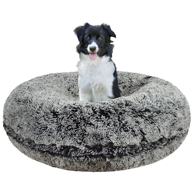 "Bessie & Barnie Extra Plush Faux Fur Bagel Pet Midnight Frost Dog Bed, 42"" x 42"" - Carousel image #1"