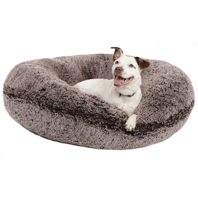 """Bessie & Barnie Extra Plush Faux Fur Bagel Pet Frosted Willow Dog Bed, 42"""" x 42"""" - Carousel image #1"""