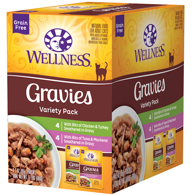 Wellness Complete Health Indulgence Grain Free Gravies Variety Pack Wet Cat Food, 3 oz., Count of 8 - Carousel image #1