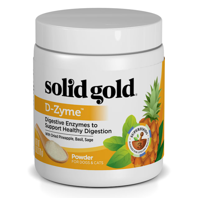 Solid Gold D-Zyme Powder for Healthy Digestion Natural Supplement With Digestive Enzymes & Superfoods for Dogs, 6 oz. - Carousel image #1