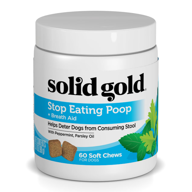 Solid Gold Stop Eating Poop Chews for Dogs with Coprophagia; Natural Supplement with Peppermint and Parsley Oil, 3.17 oz. - Carousel image #1