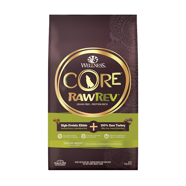 Wellness CORE RawRev Grain Free Natural Healthy Weight Deboned Chicken with Freeze Dried Turkey Recipe Dry Dog Food, 18 lbs. - Carousel image #1