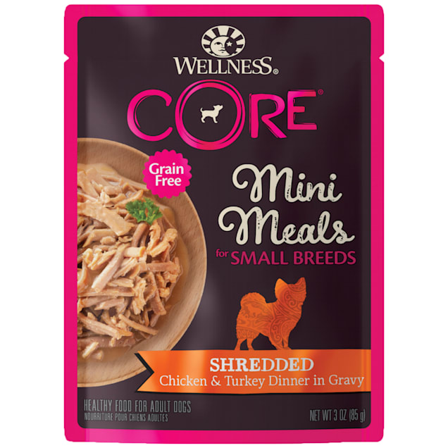 Wellness CORE Natural Grain Free Small Breed Mini Meals Shredded Chicken & Turkey Dinner Wet Dog Food, 3 oz., Case of 12 - Carousel image #1