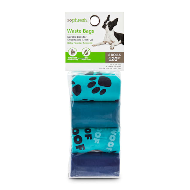 So Phresh Blue and Navy Paws-Print Dog Waste Bags, Count of 120 - Carousel image #1