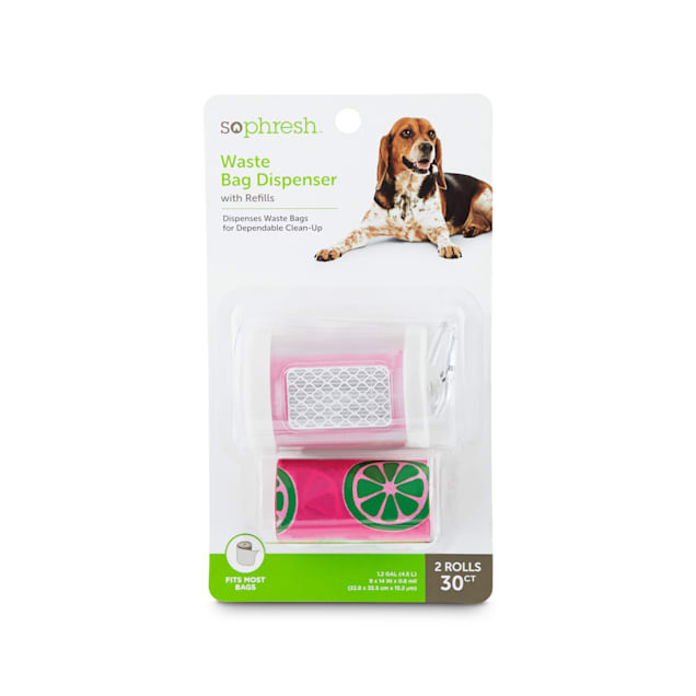 So Phresh Pink and Clear Dog Waste Bag Dispenser with Refills, Count of 30 - Carousel image #1