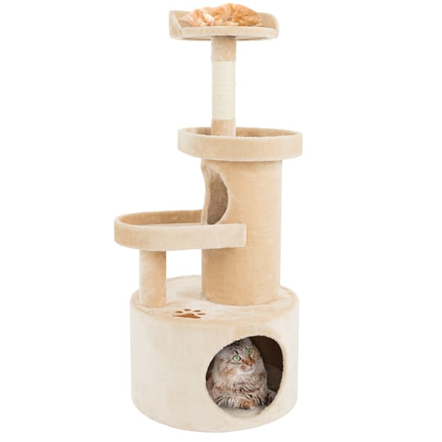 """PETMAKER 4 Level Cat Tree Condo with Tunnel and Scratching Post in Tan, 43"""" H - Carousel image #1"""