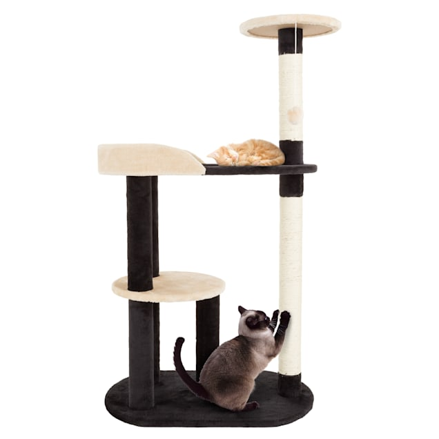 """PETMAKER 3 Level Cat Tree with 2 Scratching Posts and Hanging Toy in Black and Tan, 42.25"""" H - Carousel image #1"""