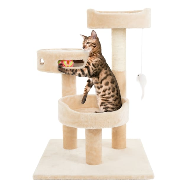 """PETMAKER 3 Level Cat Tree with 2 Hanging Toys, Scratching Post and 3 Ball Play Area in Tan, 27.5"""" H - Carousel image #1"""