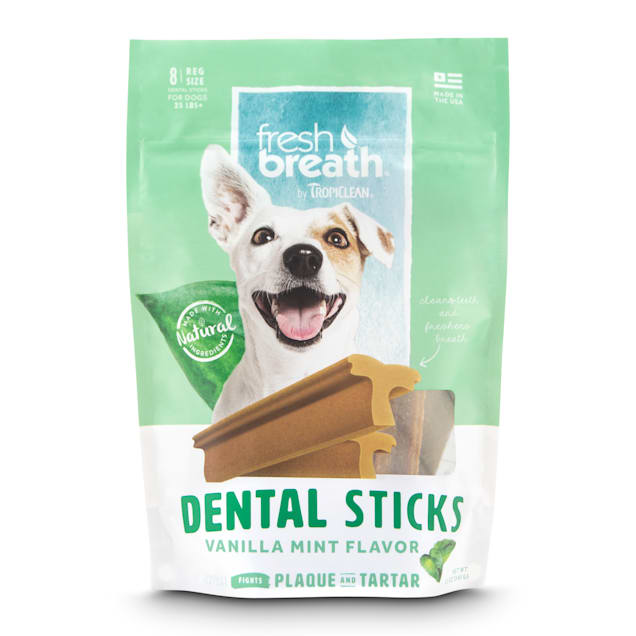 TropiClean Fresh Breath Vanilla Mint Flavor Dental Sticks for Dogs, 8 oz., Count of 8 - Carousel image #1