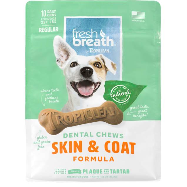 TropiClean Fresh Breath Regular Dental Chews Skin & Coat Formula for Dogs, 12 oz., Count of 10 - Carousel image #1