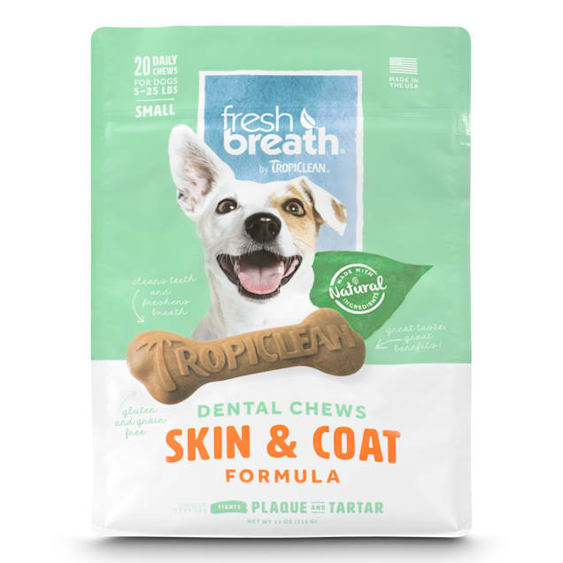TropiClean Fresh Breath Small Dental Chews Skin & Coat Formula for Dogs, 11 oz., Count of 20 - Carousel image #1