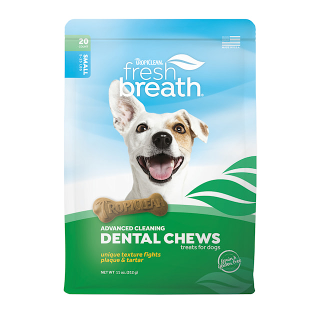 TropiClean Fresh Breath Advanced Small Dental Chews for Dogs, 11 oz., Count of 20 - Carousel image #1