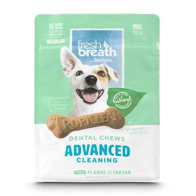TropiClean Fresh Breath Advanced Regular Dental Chews for Dogs, 12 oz., Count of 10 - Carousel image #1