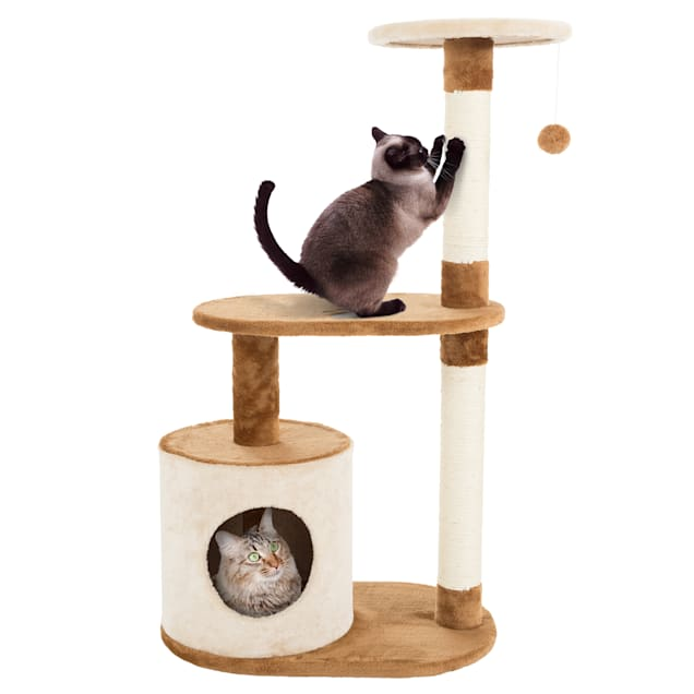 """PETMAKER 3 Level Cat Tree Condo with Scratching Posts in Brown, 37.5"""" H - Carousel image #1"""