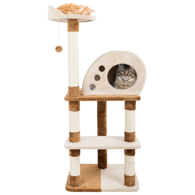 """PETMAKER 4 Level Plush Cat Tower with Sisal Scratching Posts, Perch, Cat Condo and Hanging Toy, 47.75"""" H - Carousel image #1"""