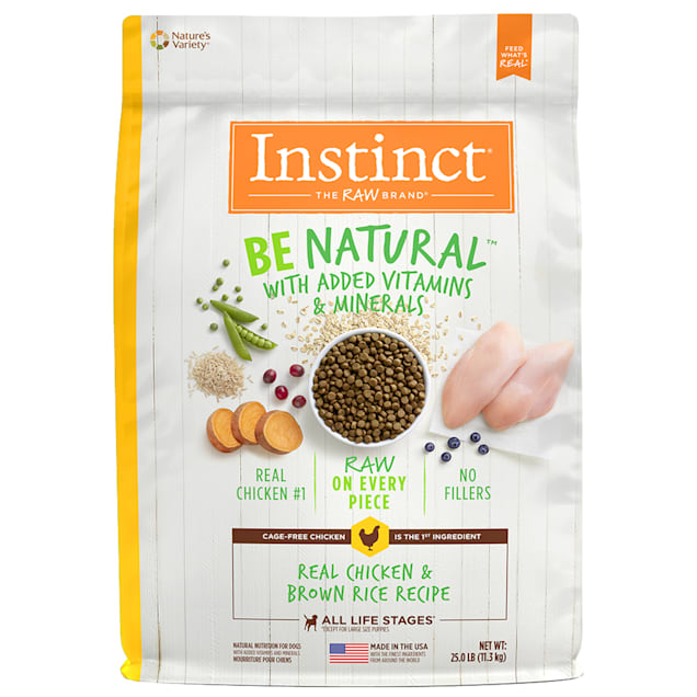 Instinct Be Natural Real Chicken & Brown Rice Recipe Freeze-Dried Raw Coated Dry Dog Food, 25 lbs. - Carousel image #1
