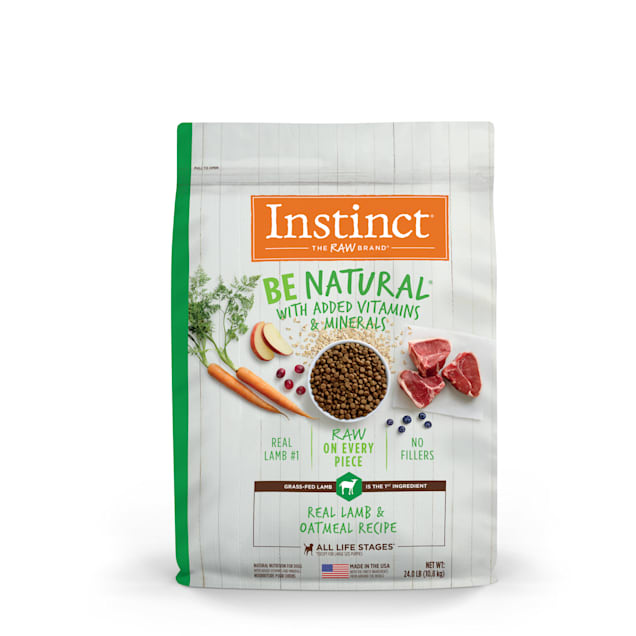 Instinct Be Natural Real Lamb & Oatmeal Recipe Freeze-Dried Raw Coated Dry Dog Food, 24 lbs. - Carousel image #1