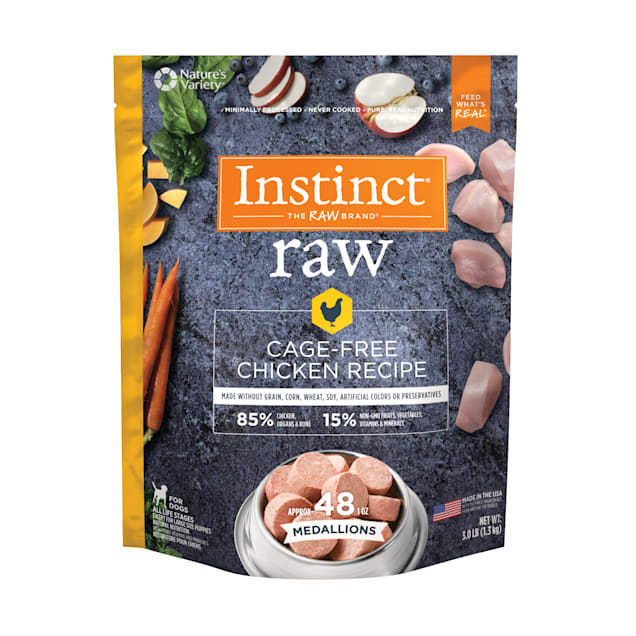 Instinct Frozen Raw Medallions Grain-Free Cage-Free Chicken Recipe Dog Food, 3 lbs. - Carousel image #1
