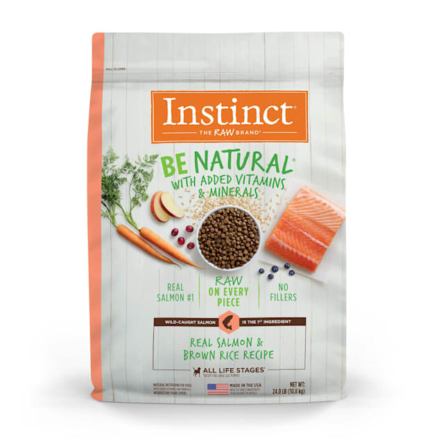 Instinct Be Natural Real Salmon & Brown Rice Recipe Freeze-Dried Raw Coated Dry Dog Food, 24 lbs. - Carousel image #1