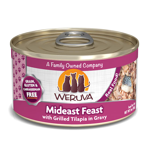 Weruva Classics Mideast Feast with Grilled Tilapia in Gravy Wet Cat Food, 3 oz., Case of 24 - Carousel image #1