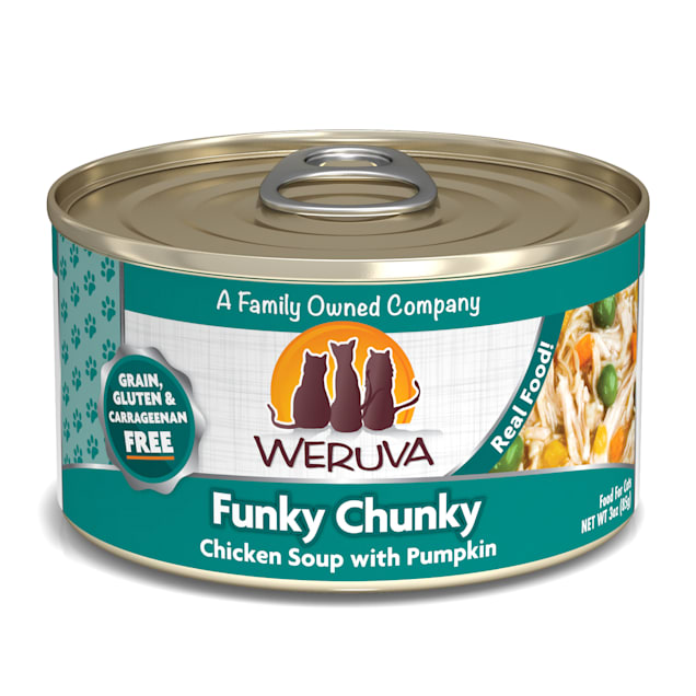 Weruva Classics Funky Chunky Chicken Soup with Pumpkin Wet Cat Food, 3 oz., Case of 24 - Carousel image #1