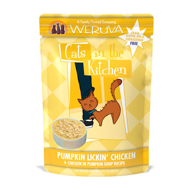 Cats in the Kitchen Pumpkin Lickin' Chicken in Pumpkin Soup Recipe Wet Cat Food, 3 oz., Case of 12 - Carousel image #1