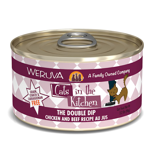 Cats in the Kitchen Originals The Double Dip Chicken and Beef Recipe Au Jus Wet Cat Food, 3.2 oz., Case of 24 - Carousel image #1