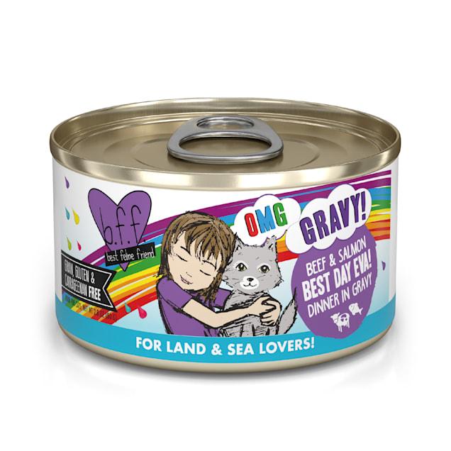 B.F.F. OMG Best Day Eva! Beef & Salmon Dinner in Gravy Wet Cat Food, 2.8 oz., Case of 12 - Carousel image #1