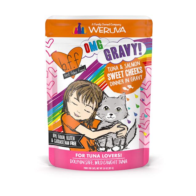 B.F.F. OMG Sweet Cheeks Tuna & Salmon Dinner in Gravy Wet Cat Food, 3 oz., Case of 12 - Carousel image #1