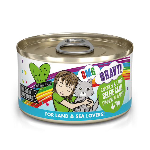 B.F.F. OMG Selfie Cam! Chicken & Lamb Dinner in Gravy Wet Cat Food, 2.8 oz., Case of 12 - Carousel image #1