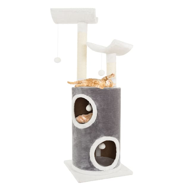 """PETMAKER 5 Level Cat Tree Double Decker Condo with 4 Toys and 2 Scratching Posts in Gray, 44.75"""" H - Carousel image #1"""