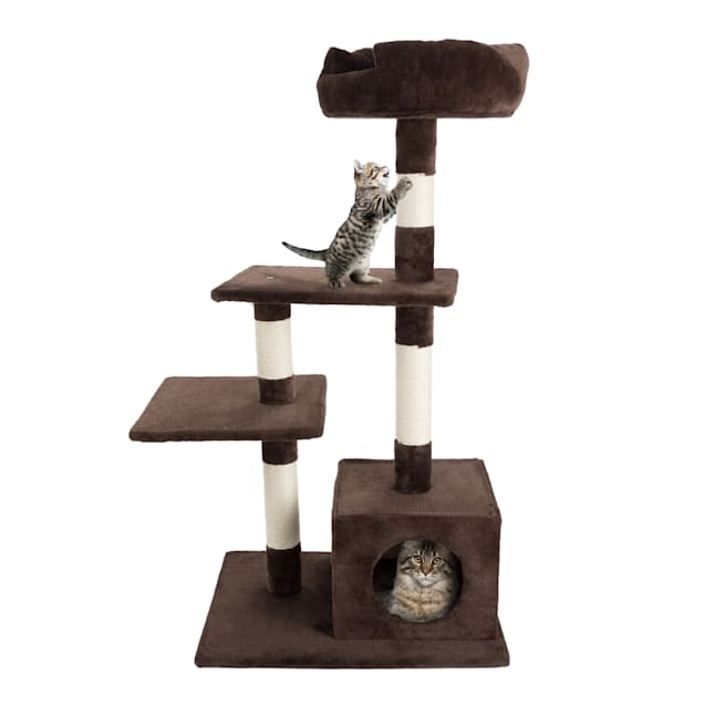"""PETMAKER 4 Level Plush Cat Tower with Sisal Scratching Posts, Perch Platforms and Penthouse Condo, 43"""" H - Carousel image #1"""