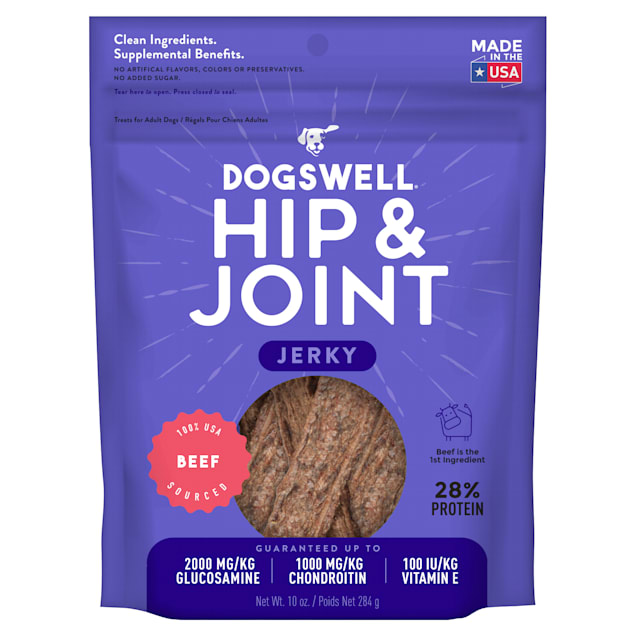 Dogswell Hip & Joint Jerky Grain-Free Beef for Dogs, 10 oz. - Carousel image #1