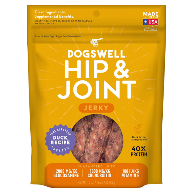 Dogswell Hip & Joint Jerky Grain-Free Duck Recipe for Dogs, 10 oz. - Carousel image #1