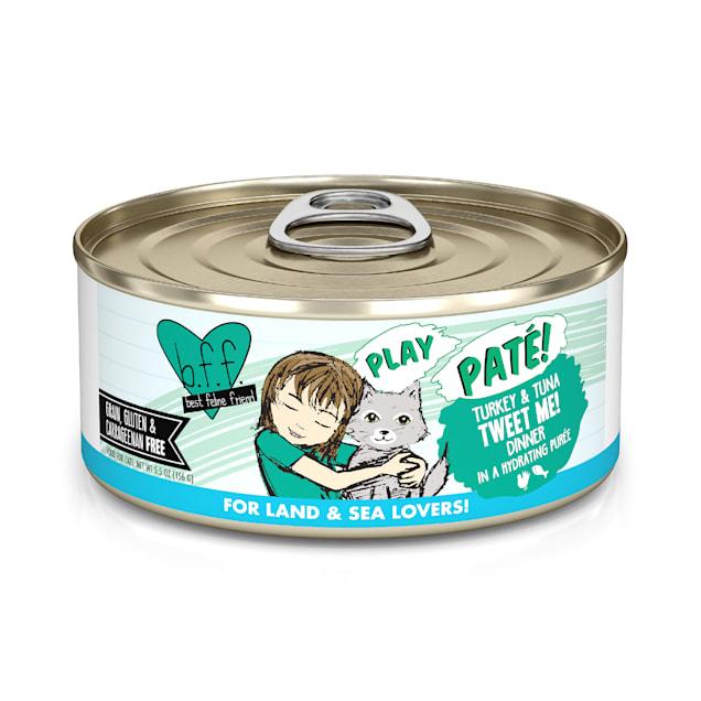 B.F.F. P.L.A.Y. Tweet Me! Turkey & Tuna Dinner in a Hydrating Puree Wet Cat Food, 5.5 oz., Case of 8 - Carousel image #1
