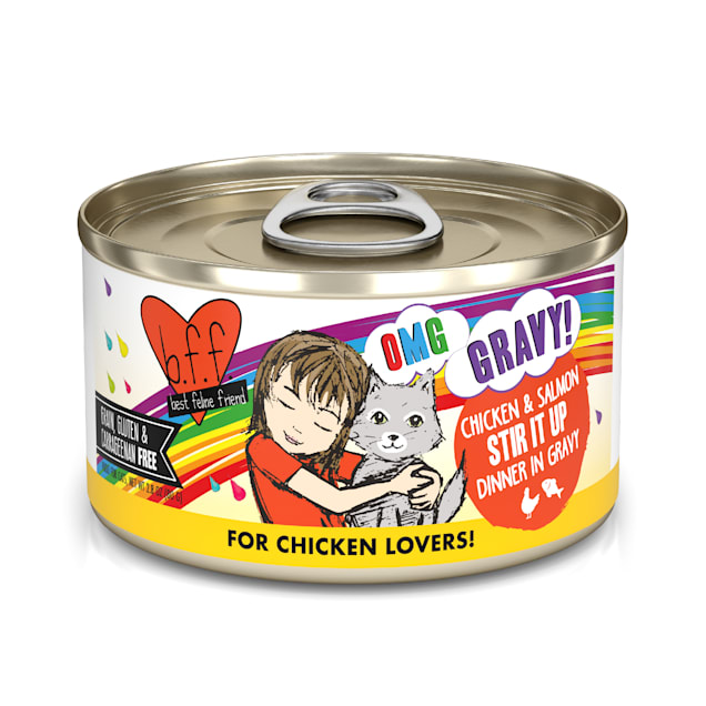 B.F.F. OMG Stir it Up Chicken & Salmon Dinner in Gravy Wet Cat Food, 2.8 oz., Case of 12 - Carousel image #1
