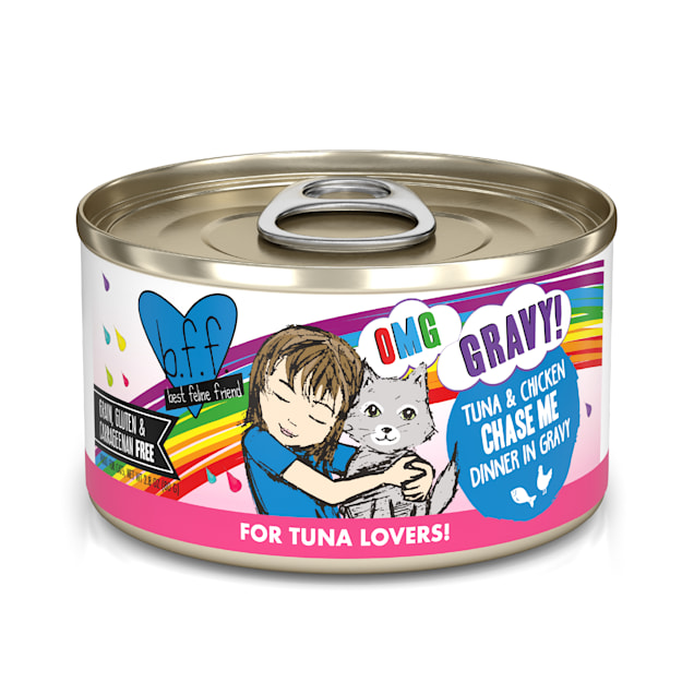 B.F.F. OMG Chase Me Tuna & Chicken Dinner in Gravy Wet Cat Food, 2.8 oz., Case of 12 - Carousel image #1