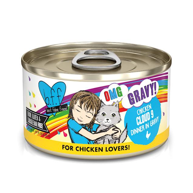 B.F.F. OMG Cloud 9 Chicken Dinner in Gravy Wet Cat Food, 2.8 oz., Case of 12 - Carousel image #1
