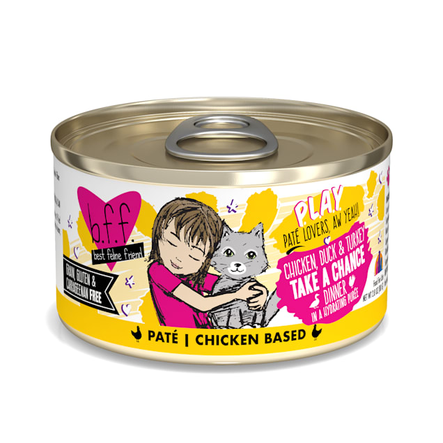 B.F.F. P.L.A.Y. Take a Chance Chicken, Duck & Turkey Dinner in a Hydrating Puree Wet Cat Food, 2.8 oz., Case of 12 - Carousel image #1