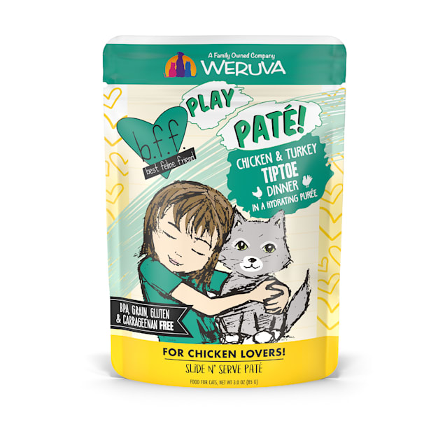 B.F.F. P.L.A.Y. Tiptoe Chicken & Turkey Dinner in a Hydrating Puree Wet Cat Food, 3 oz., Case of 12 - Carousel image #1