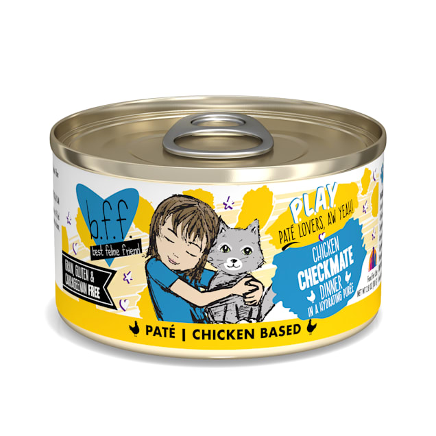 B.F.F. P.L.A.Y. Checkmate Chicken Dinner in a Hydrating Puree Wet Cat Food, 2.8 oz., Case of 12 - Carousel image #1
