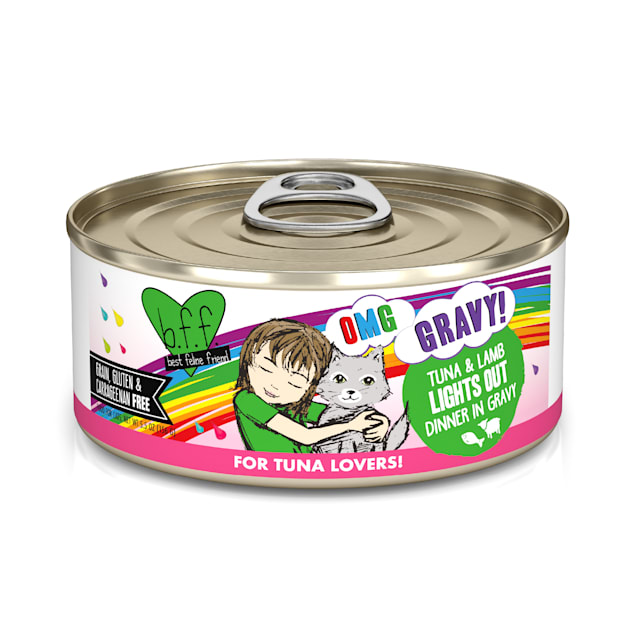 B.F.F. OMG Lights Out Tuna & Lamb Dinner in Gravy Wet Cat Food, 5.5 oz., Case of 8 - Carousel image #1