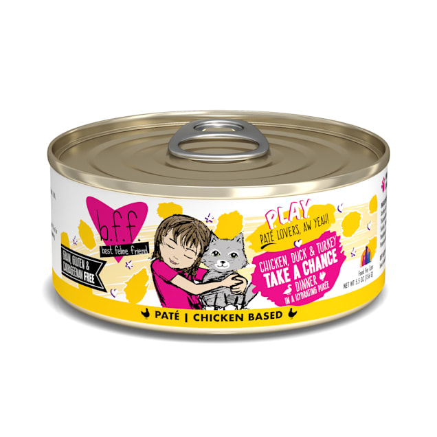 B.F.F. P.L.A.Y. Take a Chance Chicken, Duck & Turkey Dinner in a Hydrating Puree Wet Cat Food, 5.5 oz., Case of 8 - Carousel image #1