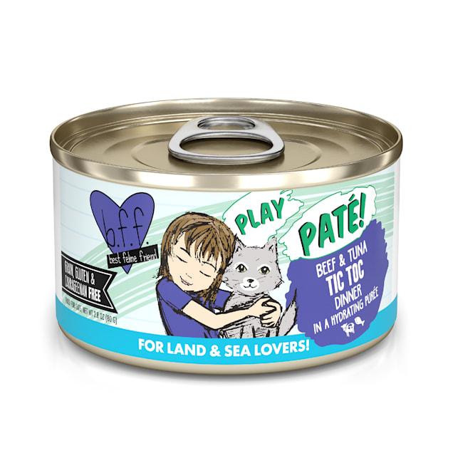 B.F.F. P.L.A.Y. Tic Toc Beef & Tuna Dinner in a Hydrating Puree Wet Cat Food, 2.8 oz., Case of 12 - Carousel image #1