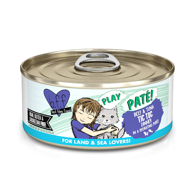 B.F.F. P.L.A.Y. Tic Toc Beef & Tuna Dinner in a Hydrating Puree Wet Cat Food, 5.5 oz., Case of 8 - Carousel image #1
