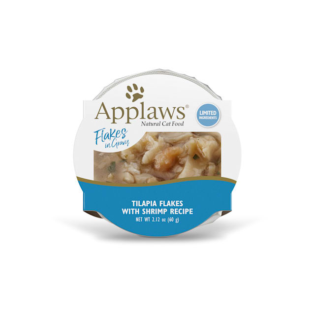 Applaws Natural Tilapia Flakes with Shrimp in Gravy Wet Cat Food, 2.12 oz., Case of 18 - Carousel image #1