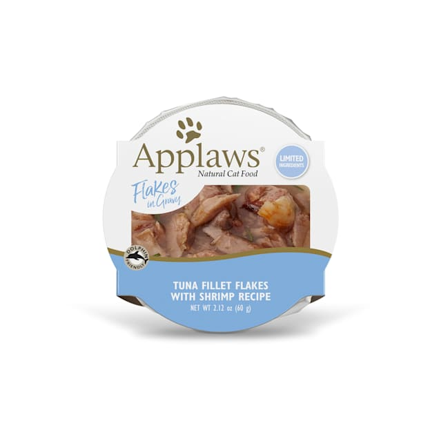 Applaws Tuna Flakes with Shrimp in Gravy Peel & Serve Pot Grain Free Wet Cat Food, 2.12 oz., Case of 18 - Carousel image #1