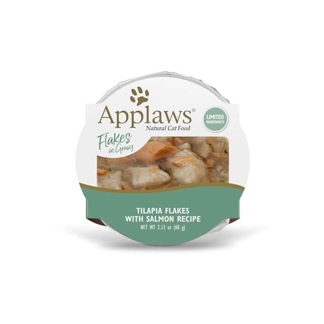 Applaws Natural Tilapia with Sockeye Salmon Flakes in Gravy Wet Cat Food, 2.12 oz., Case of 18 - Carousel image #1