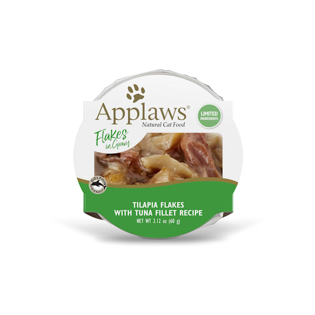 Applaws Grilled Tilapia Flakes with Tuna in Gravy Peel & Serve Pot Grain Free Wet Cat Food, 2.12 oz, Case of 18 - Carousel image #1